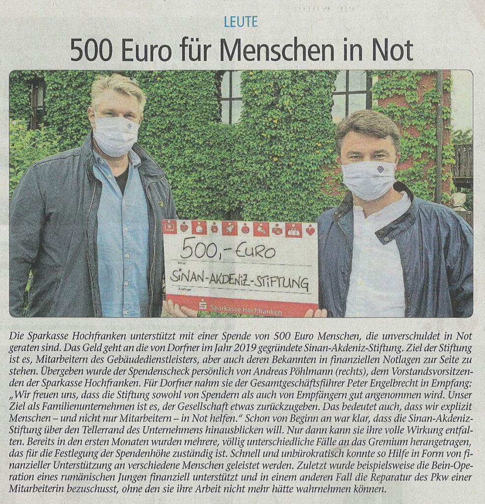 Sinan Akdeniz Stiftung erhält Spende von Sparkasse Hochfranken